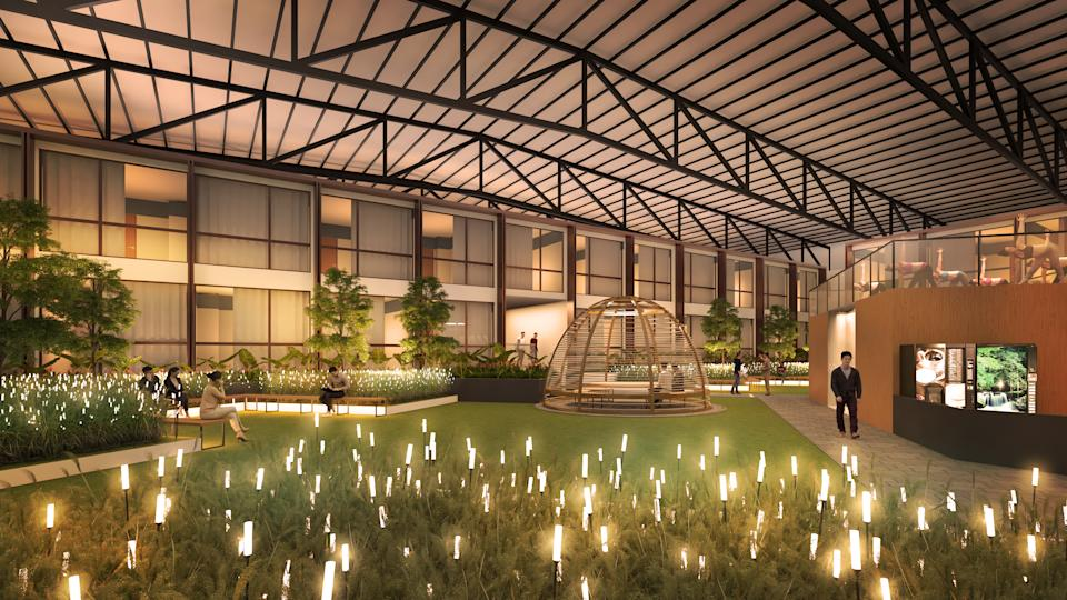 Artist impression of the courtyard of the Connect@Changi segregated facility pilot project for the new Connect@Singapore initiative.