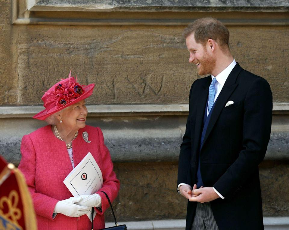 """<p>Prince Harry and his grandmother also shared <a href=""""https://www.townandcountrymag.com/society/tradition/a27466453/meghan-markle-prince-harry-ella-windsor-wedding/"""" rel=""""nofollow noopener"""" target=""""_blank"""" data-ylk=""""slk:a sweet moment outside Ella's wedding"""" class=""""link rapid-noclick-resp"""">a sweet moment outside Ella's wedding</a>. Harry's wife Meghan wasn't able to attend, as she was home with baby Archie.</p>"""