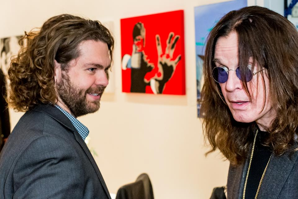 "Jack Osbourne and Ozzy Osbourne attend the Gallery Opening Of ""Social Distortion: A Capsule Collection Of Fine Art By Billy Morrison"" at Art On Scene on October 29, 2016 in West Hollywood, California.  (Photo by Greg Doherty/Getty Images)"