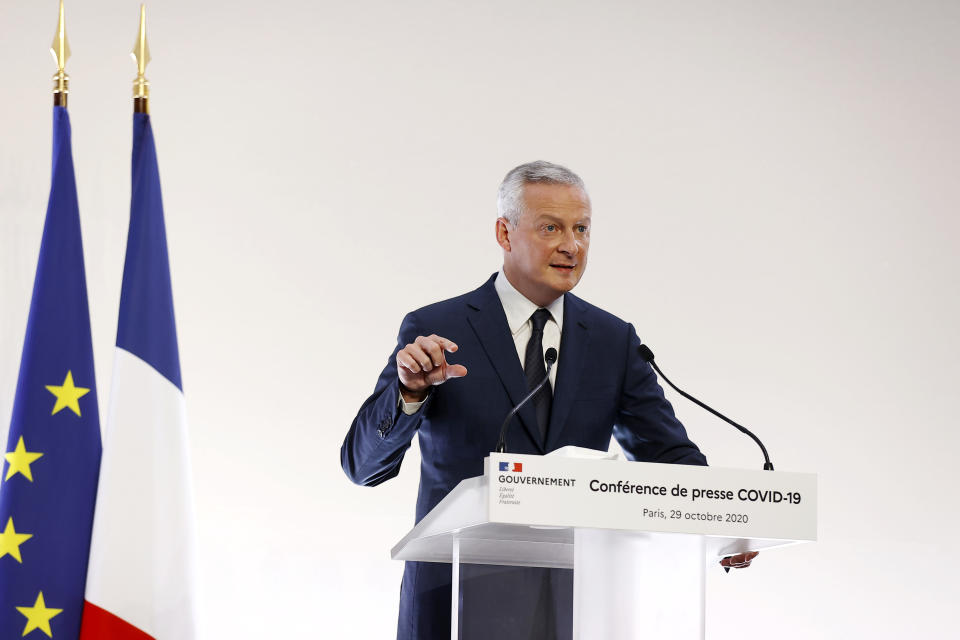 French economy minister Bruno Le Maire delivers a speech in Paris, France. Photo: Ian Langsdon, Pool via AP