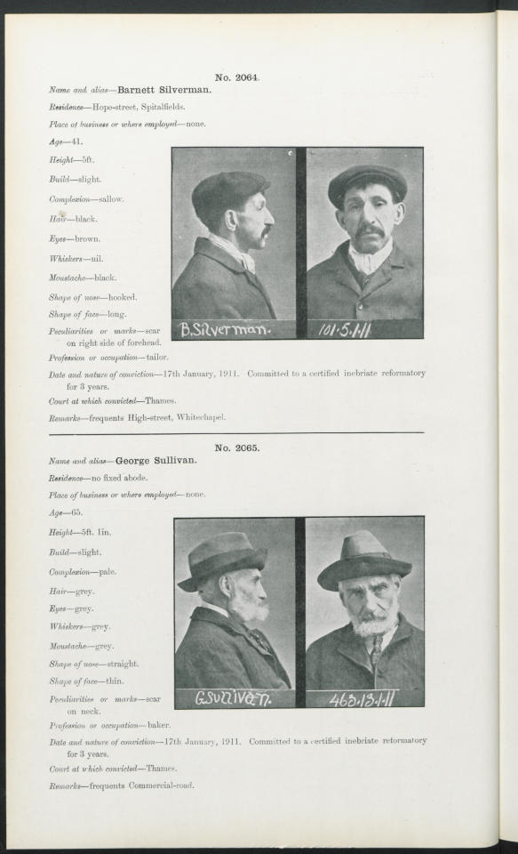 <p>Barnett Silverman, who is described as having 'sallow' skin, also has a 'scar on right side of forehead'. The detailed descriptions of each Habitual Drunkard not only give an interesting snapshot into the criminal system at the time but could prove useful for their descendants (findmypast)</p>