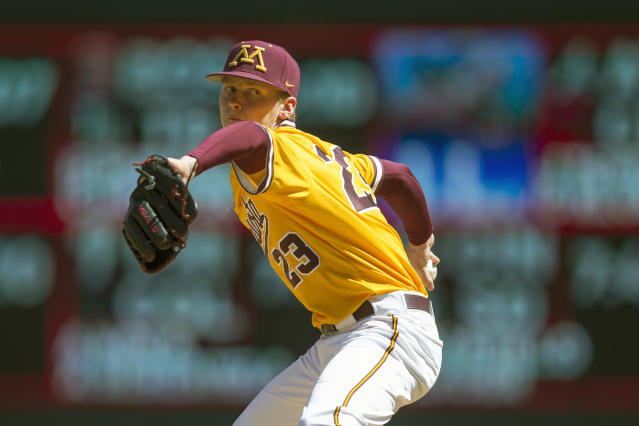 FILE - In this April 20, 2019, file photo, Minnesota pitcher Max Meyer throws against Oklahoma during an NCAA college baseball game, in Minneapolis. Meyer is expected to be an early selection in the Major League Baseball draft. (AP Photo/Andy Clayton-King, File)