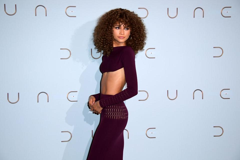 Zendaya wore a knitted-cropped two-piece to attend the Dune photocall in Paris. (Getty Images)