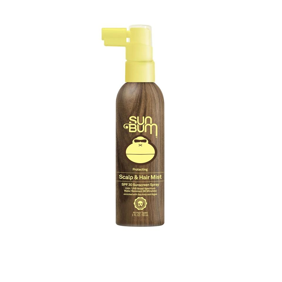 """<p>Sun Bum's new Protecting Scalp & Hair Mist SPF 30 relies on chemical blockers like homosalate, avobenzone, and octisalate to shelter hair from the sun's damaging rays. Additionally, it's formulated with glycerin and sunflower seed oil to minimize static and nourish the hair so it doesn't dry out. The sunscreen's slim nozzle makes it super easy to spritz along your part, as well as hard-to-reach areas on the scalp.</p> <p><strong>$15</strong> (<a href=""""https://www.sunbum.com/collections/new/products/protecting-scalp-hair-mist-spf-30"""" rel=""""nofollow"""">Shop Now</a>)</p>"""
