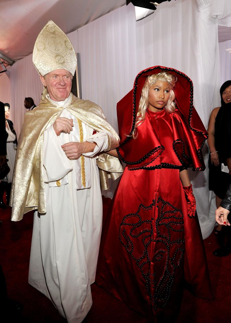 Upping the game when it came to dramatic Grammys entrances, Nicki hit the red carpet in a red Versace cloak, on the arm of an old man dressed as the Pope.<br /><br />She opened the show that year with a medley of Roman&rsquo;s Revenge, Roman Holiday and I Feel Pretty (yes, the one from West Side Story), in a performance laden with Catholic imagery which was supposed to show the exorcism of her alter-ego, Roman Zolanski.