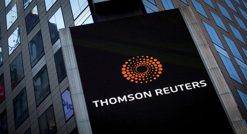 The Thomson Reuters logo is seen on the company building in Times Square, New York