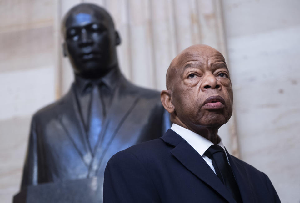 Rep. John Lewis, D-Ga., is seen near the statue of Dr. Martin Luther King, Jr., in the Capitol Rotunda before a memorial service for the late Rep. Elijah Cummings, D-Md., in Statuary Hall on Thursday, October 24, 2019. (Photo: Tom Williams/CQ-Roll Call, Inc via Getty Images),