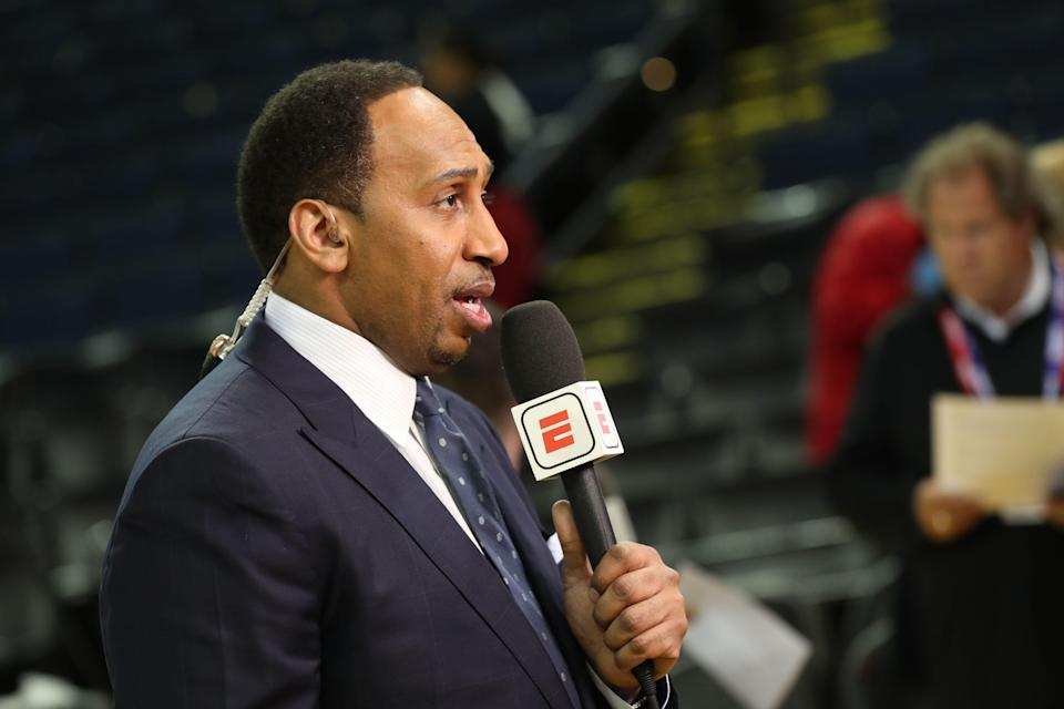 OAKLAND, CA  - May 31:  Stephen A. Smith  is photographed during the ESPN post-show after the game between Cleveland Cavaliers and Golden State Warriors in Game One of the 2018 NBA Finals on May 31, 2018 at ORACLE Arena in Oakland, California. NOTE TO USER: User expressly acknowledges and agrees that, by downloading and/or using this photograph, user is consenting to the terms and conditions of the Getty Images License Agreement. Mandatory Copyright Notice: Copyright 2018 NBAE (Photo by Joe Murphy/NBAE via Getty Images)