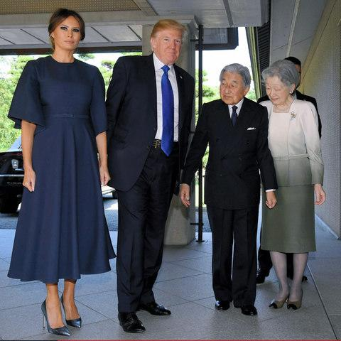 Wearing Dior to meet Emperor Akihito and Emperor Michiko - Credit: Getty