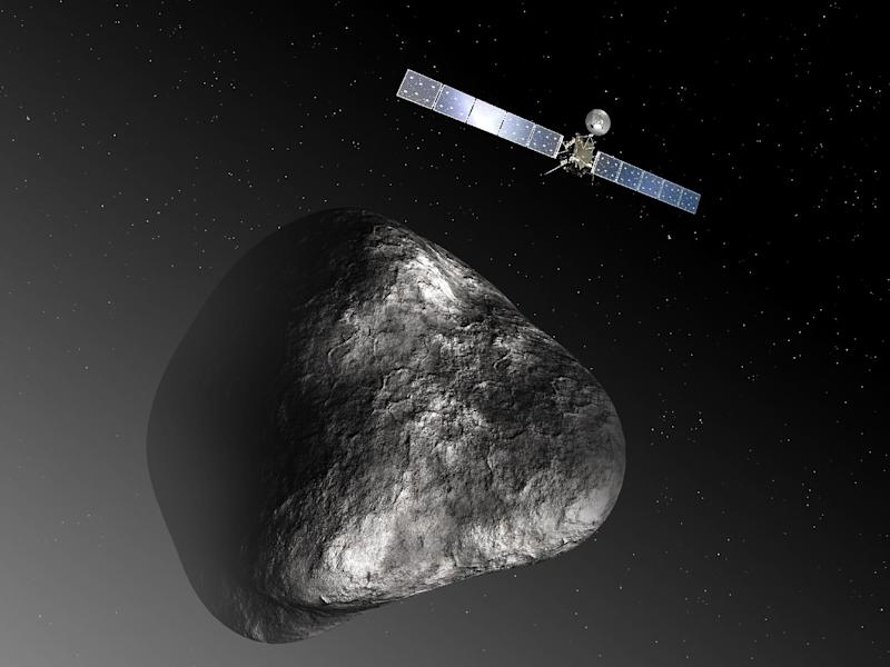 An artist's impression released by the European Space Agency on December 3, 2012 depicts the Rosetta spacecraft orbiting comet 67P/Churyumov–Gerasimenko (AFP Photo/C. Carreau / Medilab)