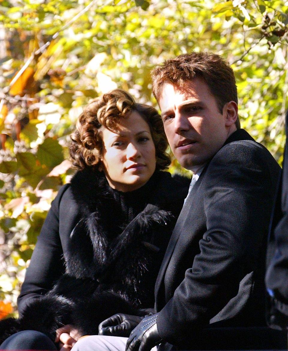 <p>On the set of the forgotten Bennifer movie, Jersey Girl, directed by Kevin Smith, in New York in 2002. The film came out two years later, after the pair had split. <br></p>