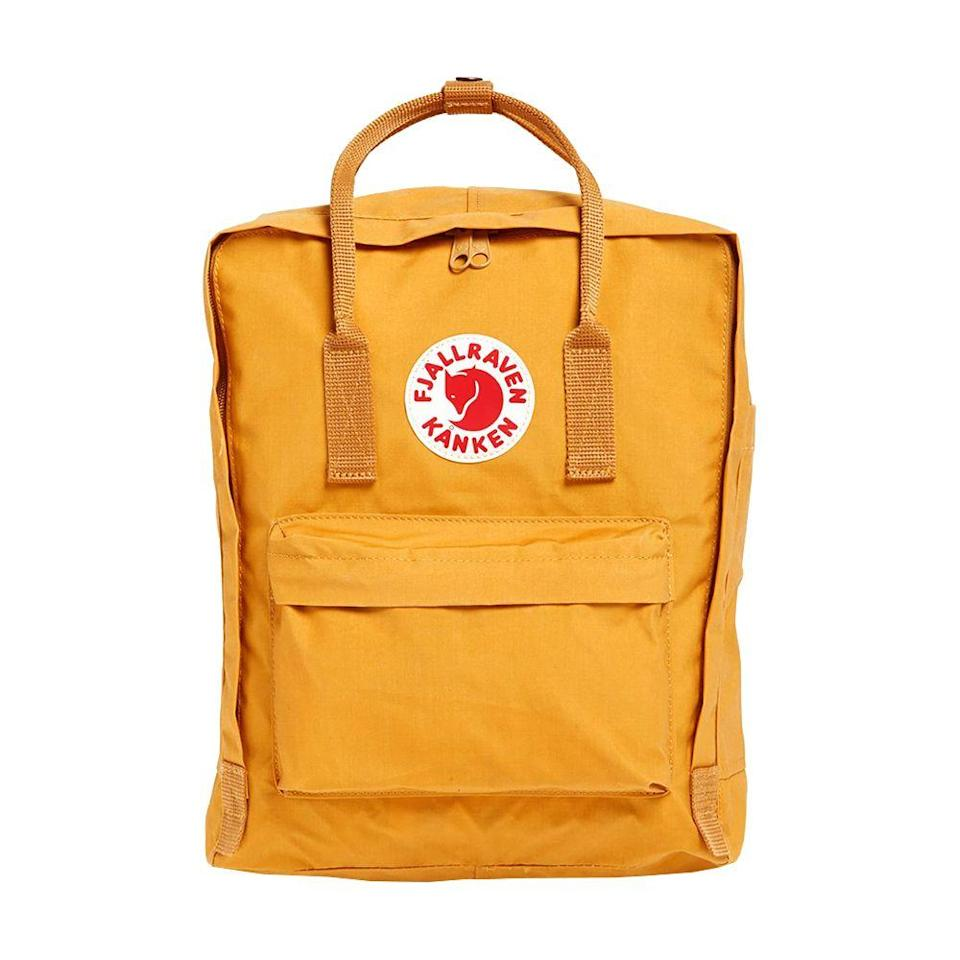 """<p><strong>FJÄLLRÄVEN Kånken</strong></p><p>nordstrom.com</p><p><strong>$80.00</strong></p><p><a href=""""https://go.redirectingat.com?id=74968X1596630&url=https%3A%2F%2Fshop.nordstrom.com%2Fs%2Ffjallraven-kanken-water-resistant-backpack%2F3833666&sref=https%3A%2F%2Fwww.bestproducts.com%2Ffitness%2Fclothing%2Fg1214%2Fgym-backpacks-sports-bags%2F"""" rel=""""nofollow noopener"""" target=""""_blank"""" data-ylk=""""slk:Shop Now"""" class=""""link rapid-noclick-resp"""">Shop Now</a></p><p>This Scandinavian company is known for making practical yet stylish equipment, and the classic Kånken-style backpack has become a popular bag for all types of people. It comes with both a rain flap and a removable seat cushion, so this bag and its contents will keep you prepared for anything. Plus, the color options are endless.</p>"""