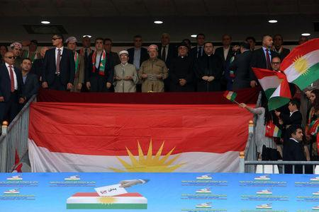 Iraqi Kurdish President Masoud Barzani (C) attends a rally in support for the upcoming September 25th independence referendum in Zakho, Iraq September 14, 2017. REUTERS/Ari Jalal