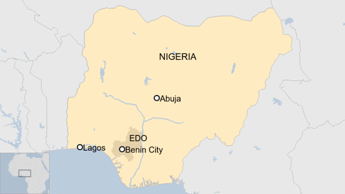 A map showing Nigeria and Benin City