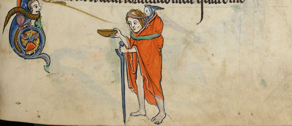 "<span class=""caption"">Un mendiant. Psautier, British Library, Add MS 62925 f. 47v (1260).</span> <span class=""attribution""><span class=""source"">British Library, Londres</span></span>"