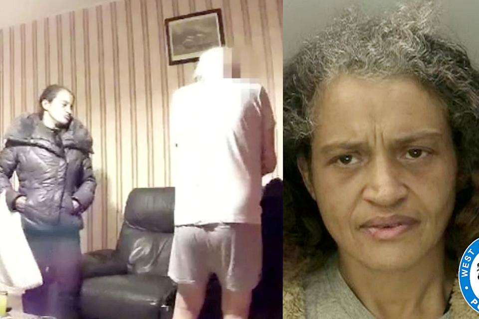 Carol Lewis captured on camera trying to get the wallet of a dementia-hit grandfather. (SWNS)