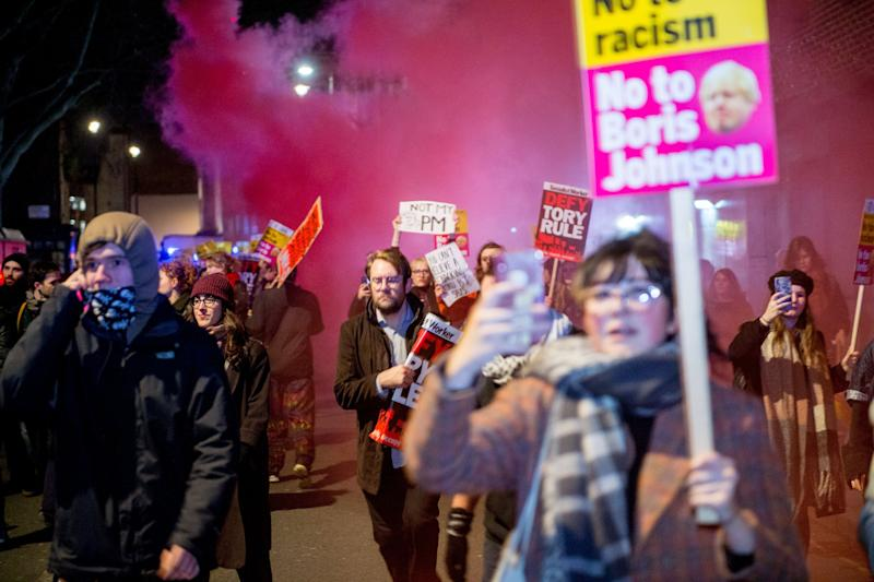 Protests broke out in London on Friday evening after the election results were announced. (Photo: Ollie Millington via Getty Images)