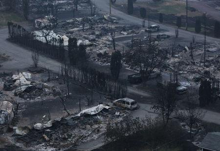 The remains of the Boston Flats trailer park is pictured after being destroyed by a wildfire in Boston Flats