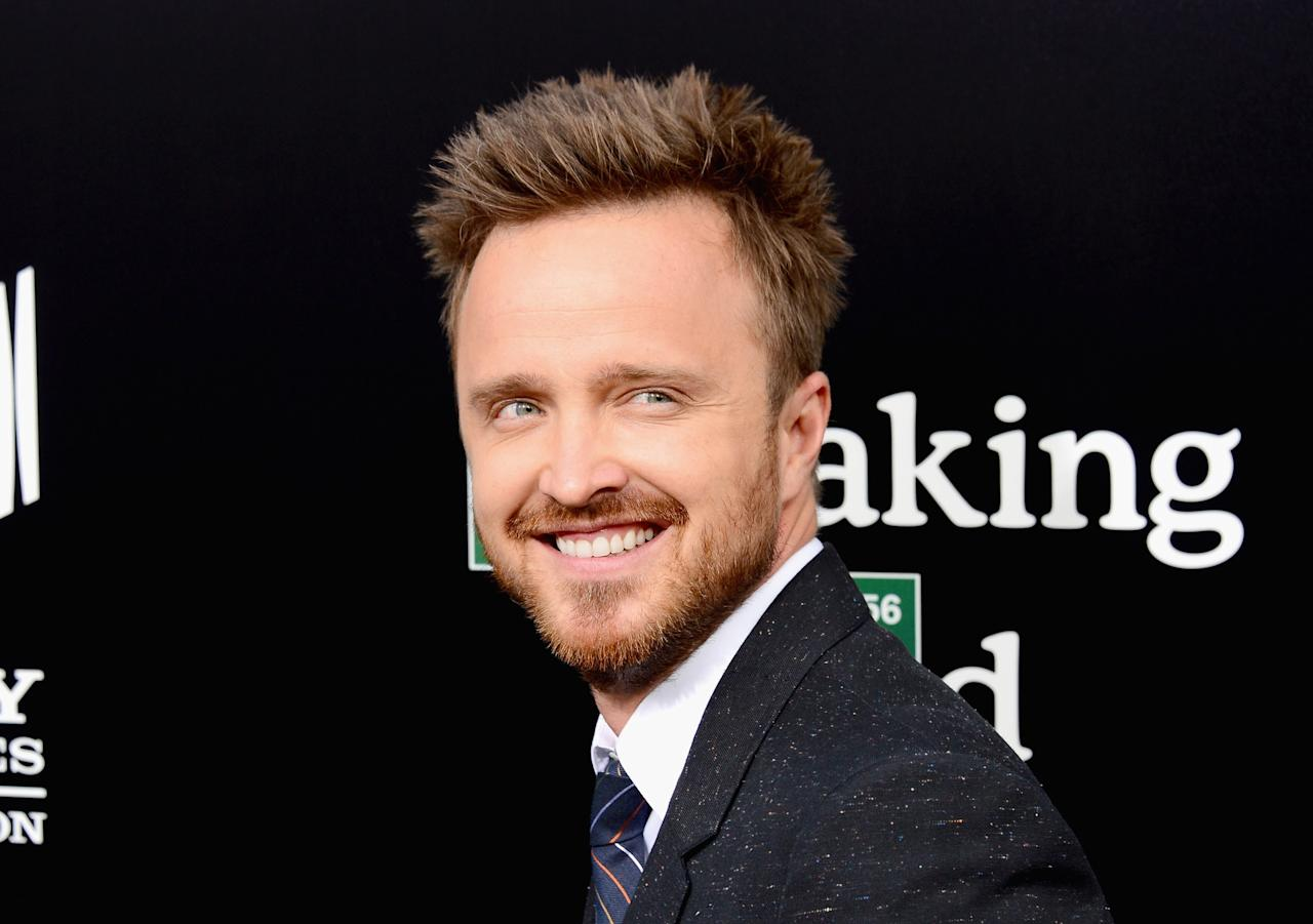 "CULVER CITY, CA - JULY 24: Actor Aaron Paul arrives as AMC Celebrates the final episodes of ""Breaking Bad"" at Sony Pictures Studios on July 24, 2013 in Culver City, California. (Photo by Mark Davis/Getty Images)"