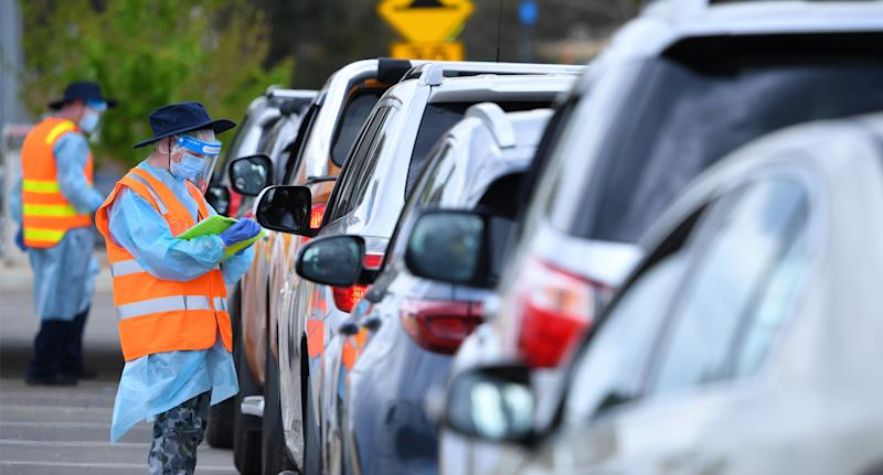 Cars queuing for coronavirus tets. Source: AAP