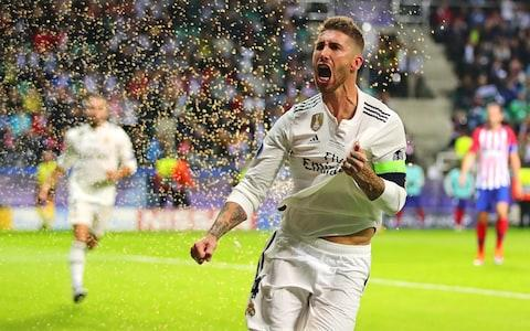 Sergio Ramos celebrates scoring for Real Madrid - Credit: getty images