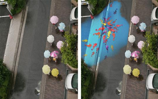 "<p>A group of designers painted giant murals in the streets of Seoul, South Korea, that appear only when it's raining. Since monsoon season hasn't arrived yet, these CGI images show the concept in action.<i> (Photo: <a href=""http://portfolios.saic.edu/gallery/23964881/D-AD-Pantone-Project-Monsoon?adbid=658130372937388032&adbpl=tw&adbpr=9313022&scid=social54353586"">SAIC</a>)</i></p>"