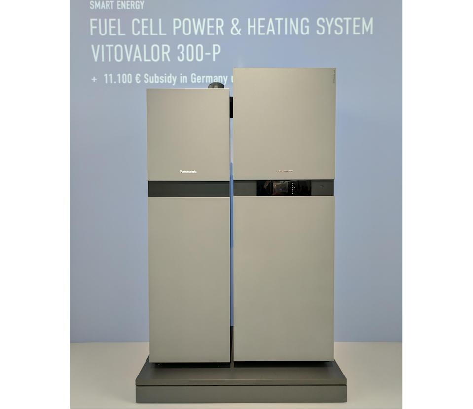 The Vitovalor 300-P is an in-home fuel cell that produces heat and electricity.
