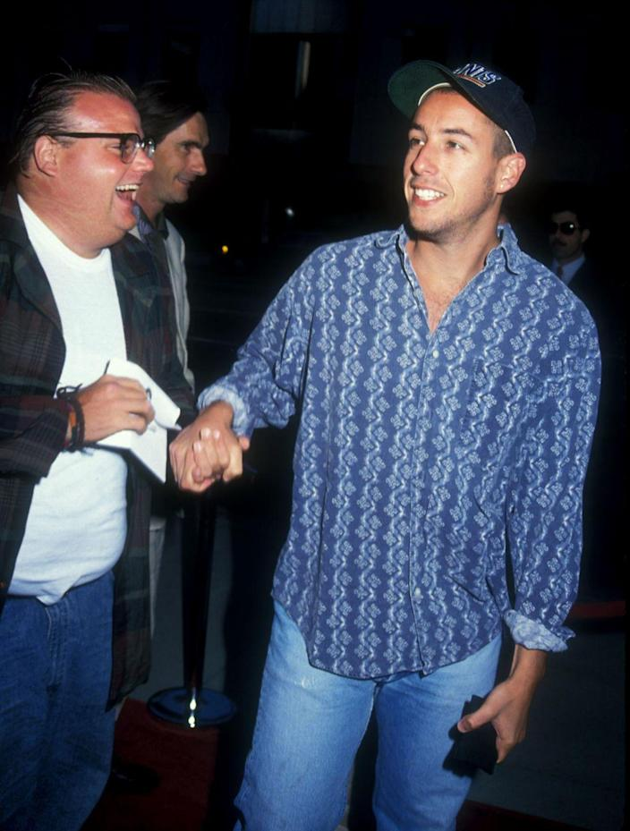 """<p>Before he got his big break on <em>Saturday Night Live</em>, Sandler was a scene-stealing player on MTV's goofy game show, <em>Remote Control</em>. The show aired in the late '80s (yes, the dark ages) and was a wild combo of <em>Double Dare</em> meets <em>Jeopardy</em>, with trivia and people getting flipped out of their recliners when they got eliminated. Sandler would walk on playing """"Stud Boy"""" or """"Trivia Delinquent"""" to keep things entertaining. </p>"""