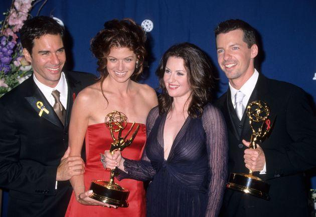 Eric McCormack, Debra Messing, Megan Mullally and Sean Hayes at the 2000 Emmys (Photo: Ron Galella via Getty Images)