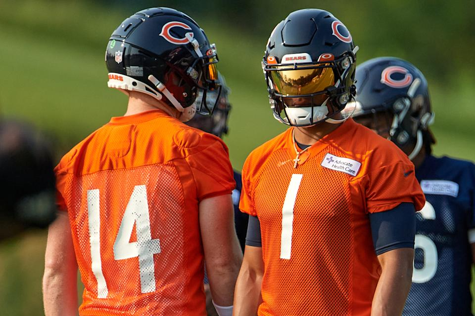 Chicago Bears quarterback Justin Fields (1) looks on during training camp on Aug. 5. (Robin Alam/Icon Sportswire via Getty Images)