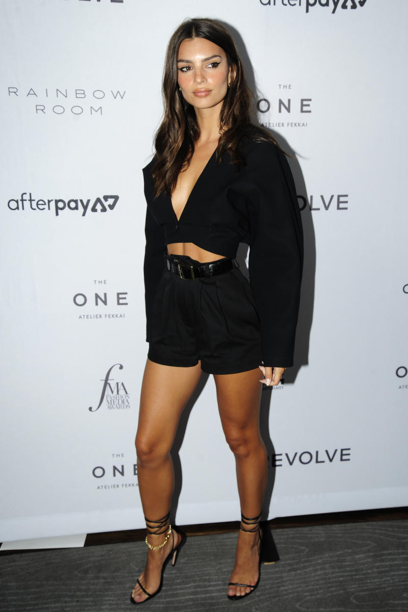 She later attended the Daily Front Row's 7th Annual Fashion Media Awards in this black outfit. Photo: Getty