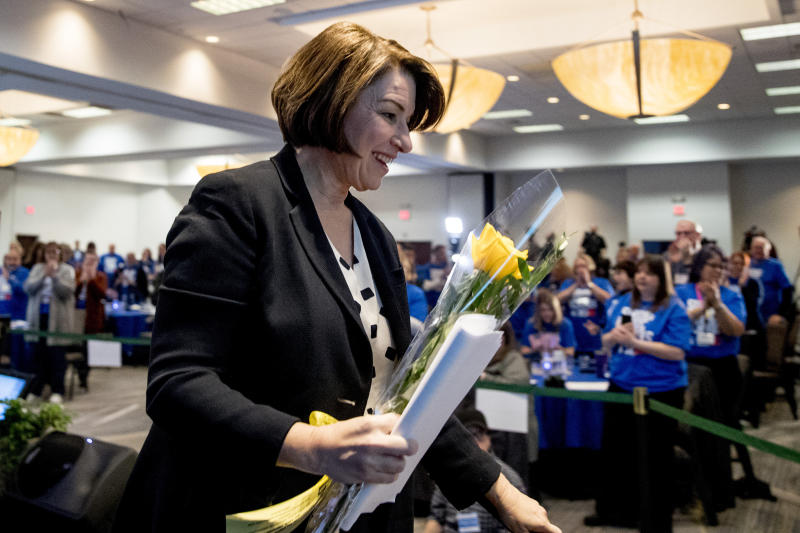Democratic presidential candidate Sen. Amy Klobuchar, D-Minn., leaves after speaking at the Iowa State Education Association Candidate Forum at the Sheraton West Des Moines Hotel, Saturday, Jan. 18, 2020, in West Des Moines, Iowa. (AP Photo/Andrew Harnik)
