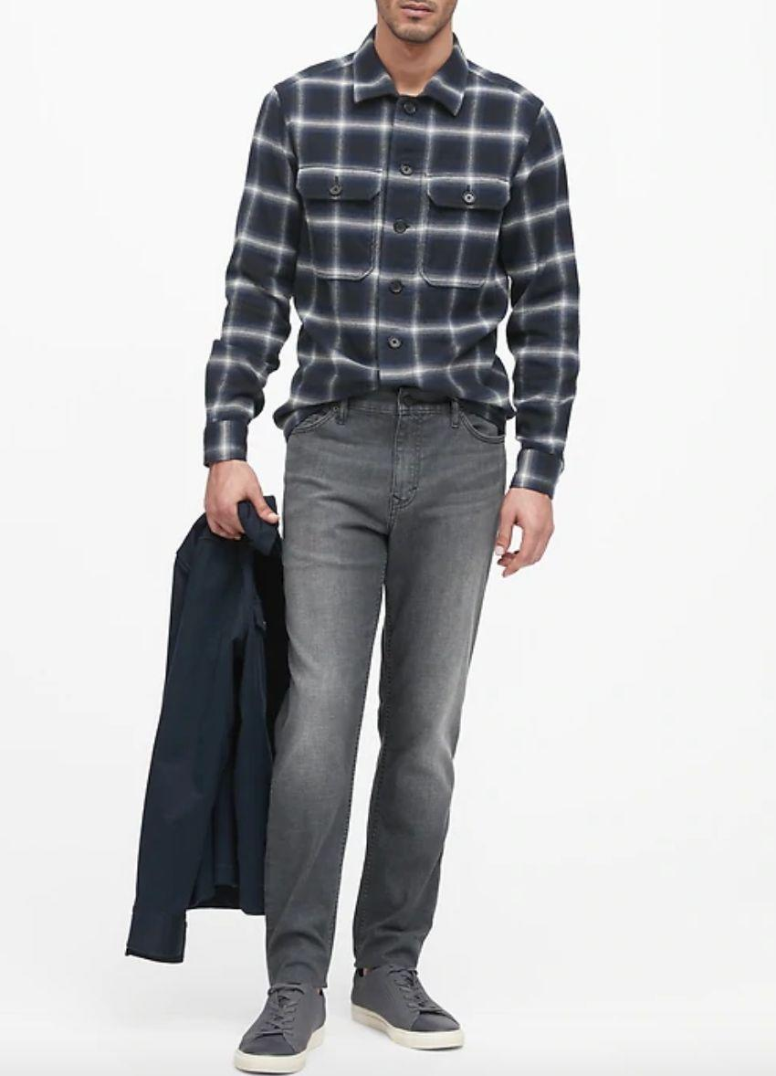 """You might be looking to change up your collection of blue and black jeans. These gray-wash jeans were designed with comfort in mind — the fabric is especially stretchy.<strong><a href=""""https://fave.co/2Te4ohZ"""" target=""""_blank"""" rel=""""noopener noreferrer"""">Find this pair at Banana Republic</a></strong>."""