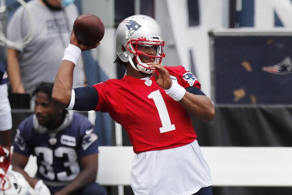 Cam Newton has the support of his teammates and coaching staff in New England. (AP Photo/Michael Dwyer, Pool)