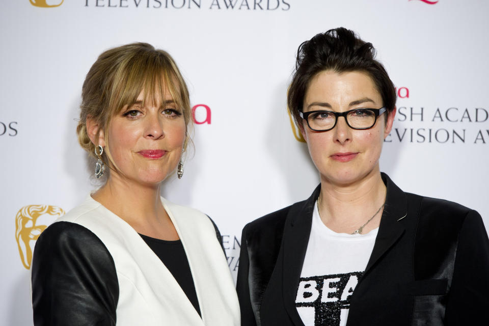 Sue Perkins and Mel Giedroyc at the 2014 Arqiva British Academy Television Awards at the Theatre Royal, Drury Lane, London.