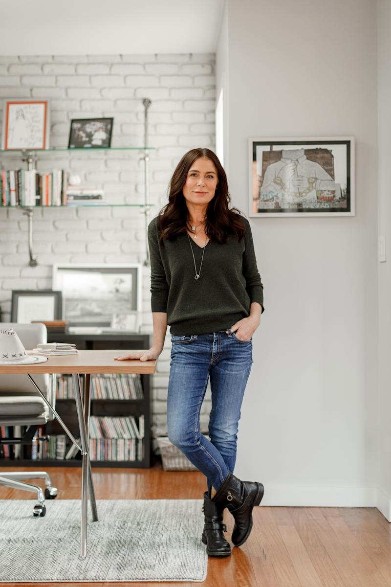 An avid photographer, Tierney uses her office—which is decorated with a desk from Design Within Reach, a chair from Knoll, and vintage glass-and-chrome shelving from Obsolete in L.A.—for printing her photographs.