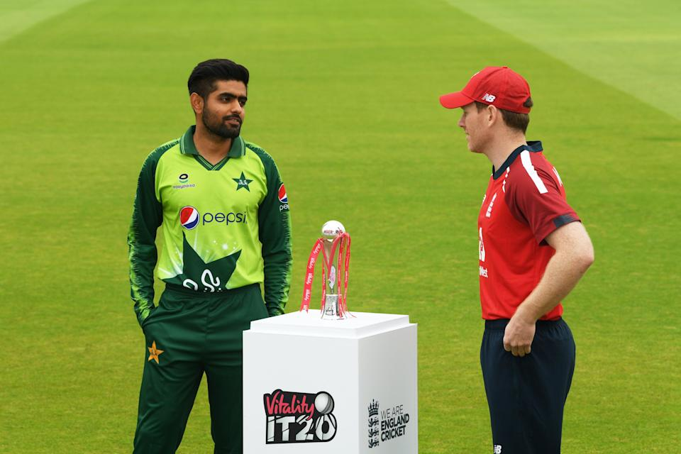 Pakistan skipper Babar Azam with Eoin Morgan during this year's tour to England (Getty Images for ECB)