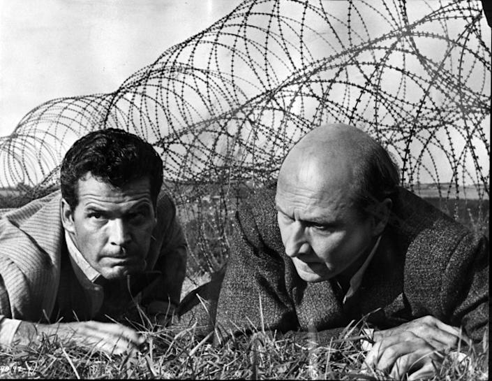 "James Garner and Donald Pleasence in a scene from the 1963 movie ""The Great Escape."""