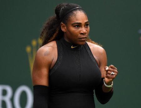 Mar 10, 2018; Indian Wells, CA, USA; Serena Williams (USA) during her second round match against Kiki Bertens (not pictured) in the BNP Paribas Open at the Indian Wells Tennis Garden. Mandatory Credit: Jayne Kamin-Oncea-USA TODAY Sports/Files