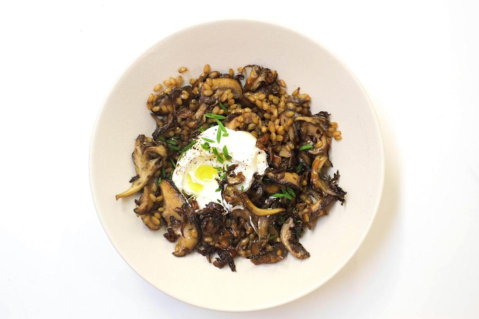 "Maitake mushrooms are a tasty addition to this meatless meal. Cooking them until they are crisp around the edges will give them a delicate crunch. <a href=""https://www.bonappetit.com/recipe/mushroom-wheat-berry-pilaf-yogurt?mbid=synd_yahoo_rss"" rel=""nofollow noopener"" target=""_blank"" data-ylk=""slk:See recipe."" class=""link rapid-noclick-resp"">See recipe.</a>"