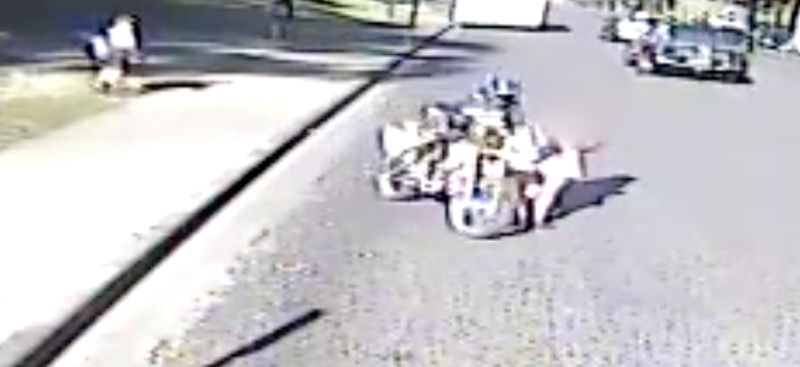 Photo shows motorcyclist hitting a schoolgirl in South Kempsey, NSW.
