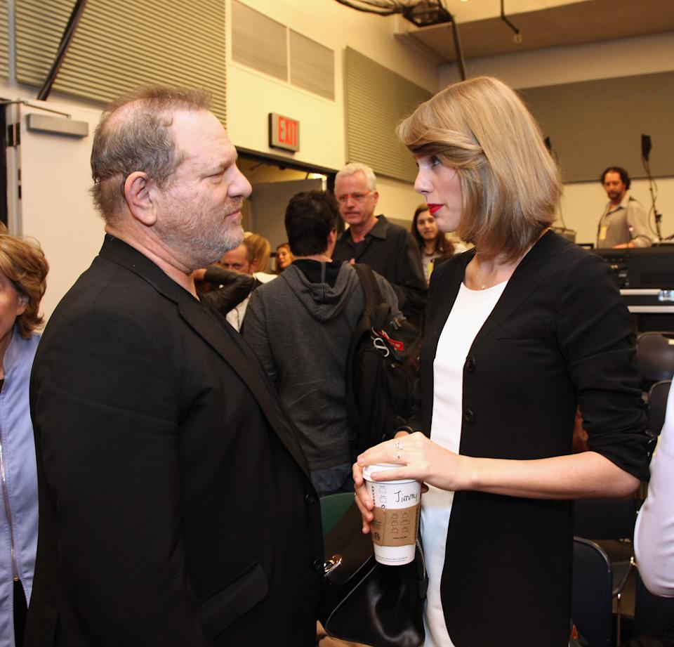 """Taylor Swift told The Guardian of Harvey Weinstein (pictured here in 2014), """"I believe women who come forward, I believe victims who come forward, I believe men who come forward."""""""