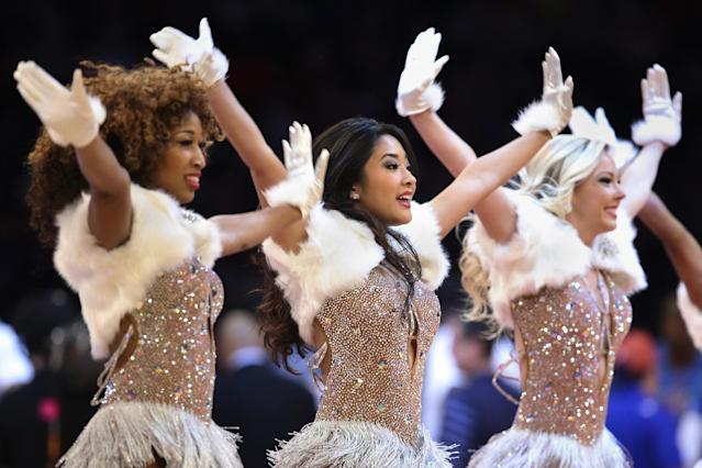 The Knicks City Dancers perform during the first half of an NBA basketball game between the New York Knicks and the Oklahoma City Thunder at Madison Square Garden, Wednesday, Dec. 25, 2013, in New York. The Thunder won 123-94. (AP Photo/John Minchillo)