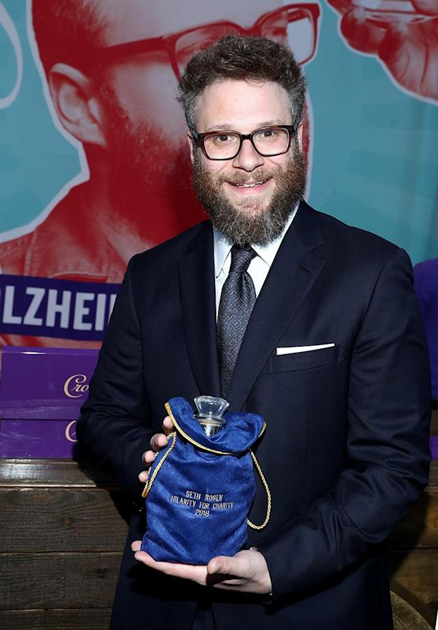 <p>The actor showed off his embroidered bag of Crown Royal XR at the sixth annual Hilarity for Charity variety show on Saturday in L.A..(Photo: Rich Polk /Getty Images for Crown Royal) </p>