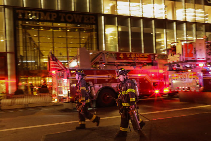 <p>First responders assess the scene of a fire at Trump Tower on April 7, 2018 in New York City. (Photo: Eduardo Munoz Alvarez/Getty Images) </p>