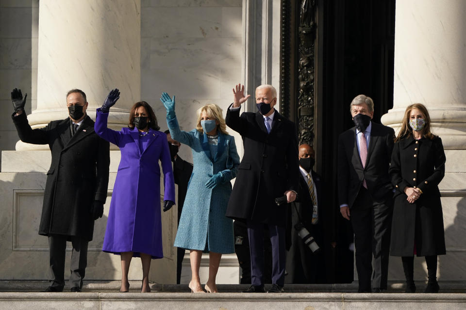 President-elect Joe Biden, his wife Jill Biden and Vice President-elect Kamala Harris and her husband Doug Emhoff arrive at the steps of the U.S. Capitol for the start of the official inauguration ceremonies, in Washington, Wednesday, Jan. 20, 2021. (AP Photo/J. Scott Applewhite)