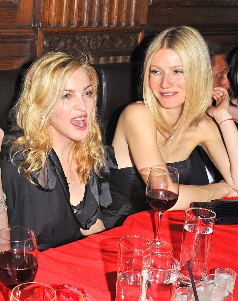 """Gal pals Madonna and Gwyneth Paltrow chatted over drinks. Perhaps Madge will contribute anti-aging tips over on Gwyneth's website Goop -- the 50-year-old looks fab! Ron Asadorian/<a href=""""http://www.splashnewsonline.com"""" target=""""new"""">Splash News</a> - March 17, 2009"""
