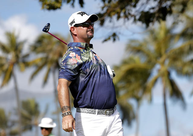 Rory Sabbatini watches his shot from 10th tee during the first round of the Sony Open PGA Tour golf event, Thursday, Jan. 10, 2019, at the Waialae Country Club in Honolulu, Hawaii. (AP Photo/Matt York)