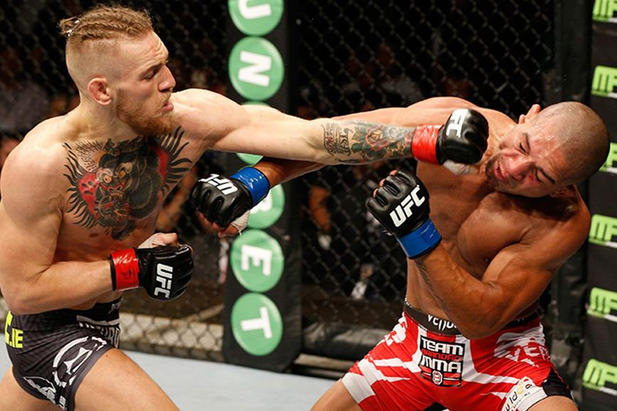 """<p>This is what a standard Conor McGregor fight looks like. This week he had a very different kind of scrap. <br><br><br/>Although the UFC Interim Featherweight Champion is deep into training for the biggest title fight of his career, against Jose Aldo at December's UFC 194, he still found time to mix it up with a freight train disguised an enormous human: GoT's The Mountain, Hafthor Julius Bjornsson.<br><br><br/><a rel=""""nofollow"""" href="""" https://au.lifestyle.yahoo.com/mens-health/a/29969125/watch-ufc-champ-conor-mcgregor-bare-knuckle-boxes-europes-strongest-man/"""">Check out the insane mismatch.</a></p><br/>"""