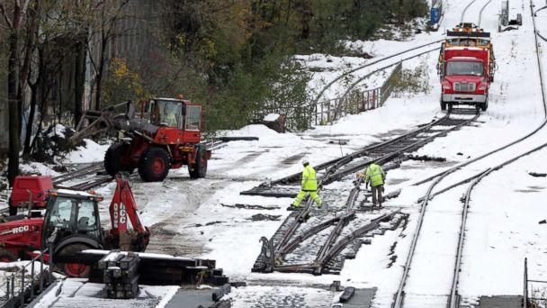 PHOTO: Workers inspect rail lines along Route 440 following a snowstorm, Friday, Nov. 16, 2018, in Jersey City, N.J. (Julio Cortez/AP)